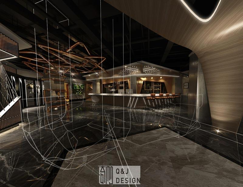 重庆新干线网咖吧台装修效果图