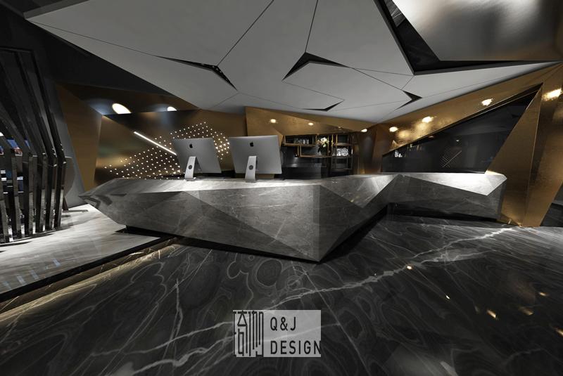 成都噼噼啪啪网咖三店吧台装修设计效果图
