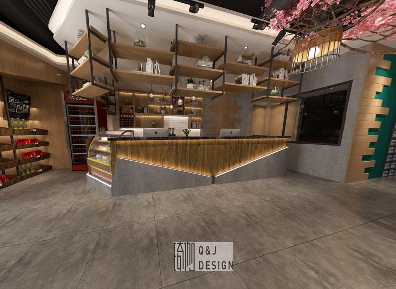 成都日式风格网咖吧台装修设计效果图