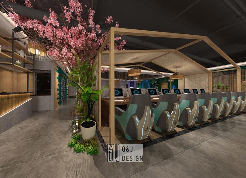 成都日式风格网咖大厅装修设计效果图